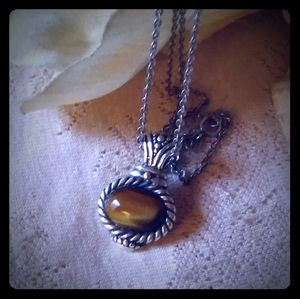 Vintage Sterling Silver Tiger Eye Pendant Necklace